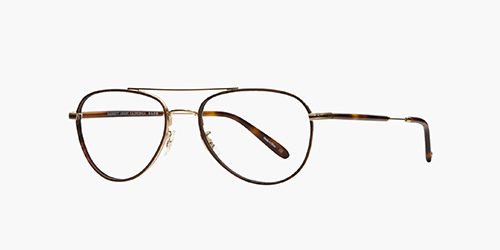 Linnie 51 Red Tortoise-Gold | is a smaller rounded aviator optical style with reverse Windsor rims, coin edge filigree, and combination metal/acetate temples in complementary tones.