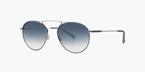 Garrett Leight Cali1. Innes 55 Denim/Indigo Layered Mirror is a refined and reinterpreted women's aviator with a delicate sculpted metal top bar and monochrome color-filled temples. fornia Optical