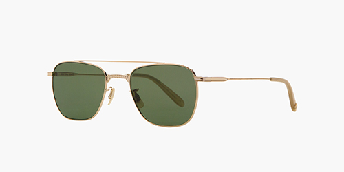 Riviera 50 Gold-Bone/Green Polar | is a metal aviator style featuring a tailored fit enlivened by a thin arching top bar and a pronounced bridge with a Southwestern pattern filigree.